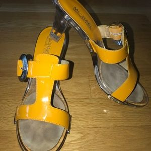 Michael Kors Patent Leather Yellow Acrylic Heels